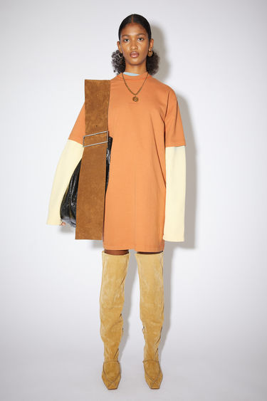 Acne Studios dusty orange casual t-shirt dress is made of cotton with an Acne Studios logo at the centre front.