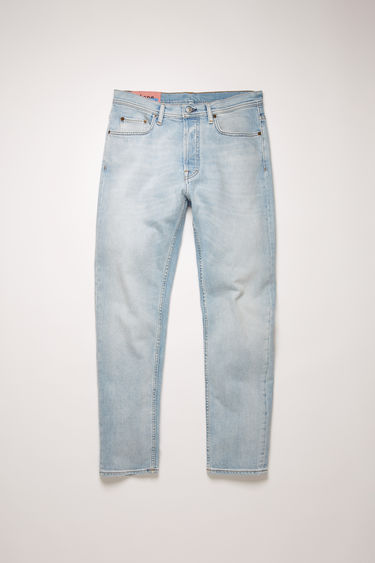 Acne Studios River Lt Blue jeans are crafted from comfort stretch denim that's faded and whiskered to give a worn-in appeal. They're shaped to sit high on a waistband before falling to a slim, tapered leg.