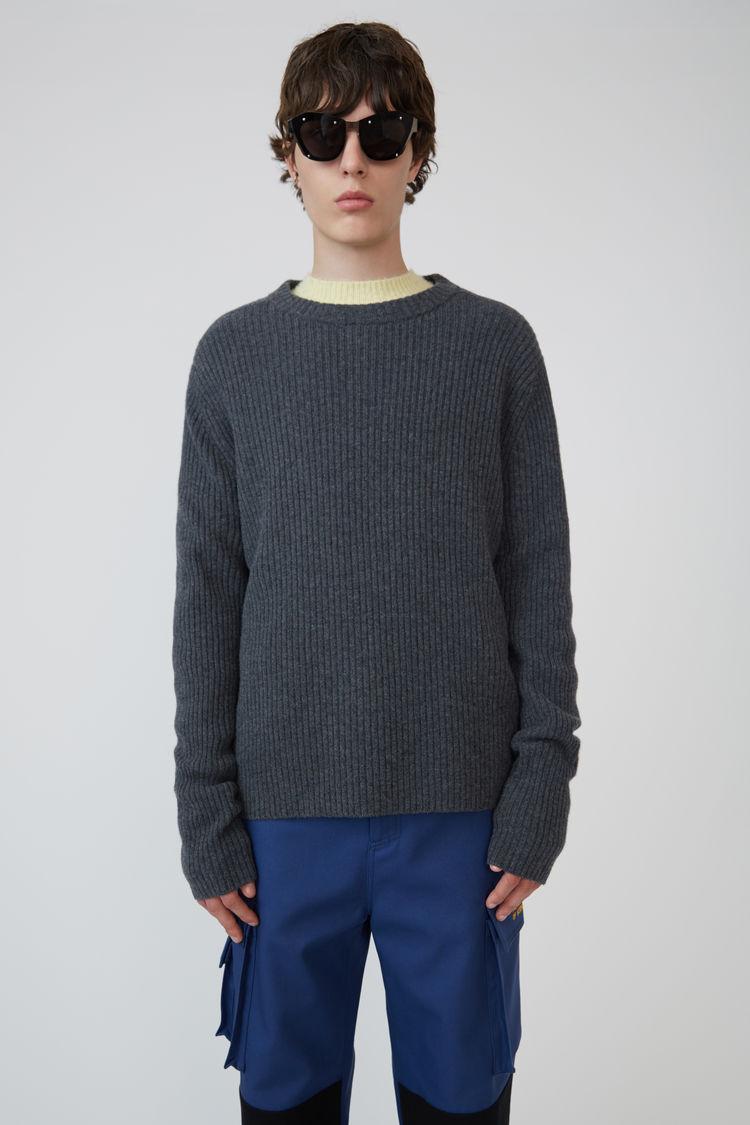 Ribbed Crewneck Sweater Dark Grey Melange by Acne Studios