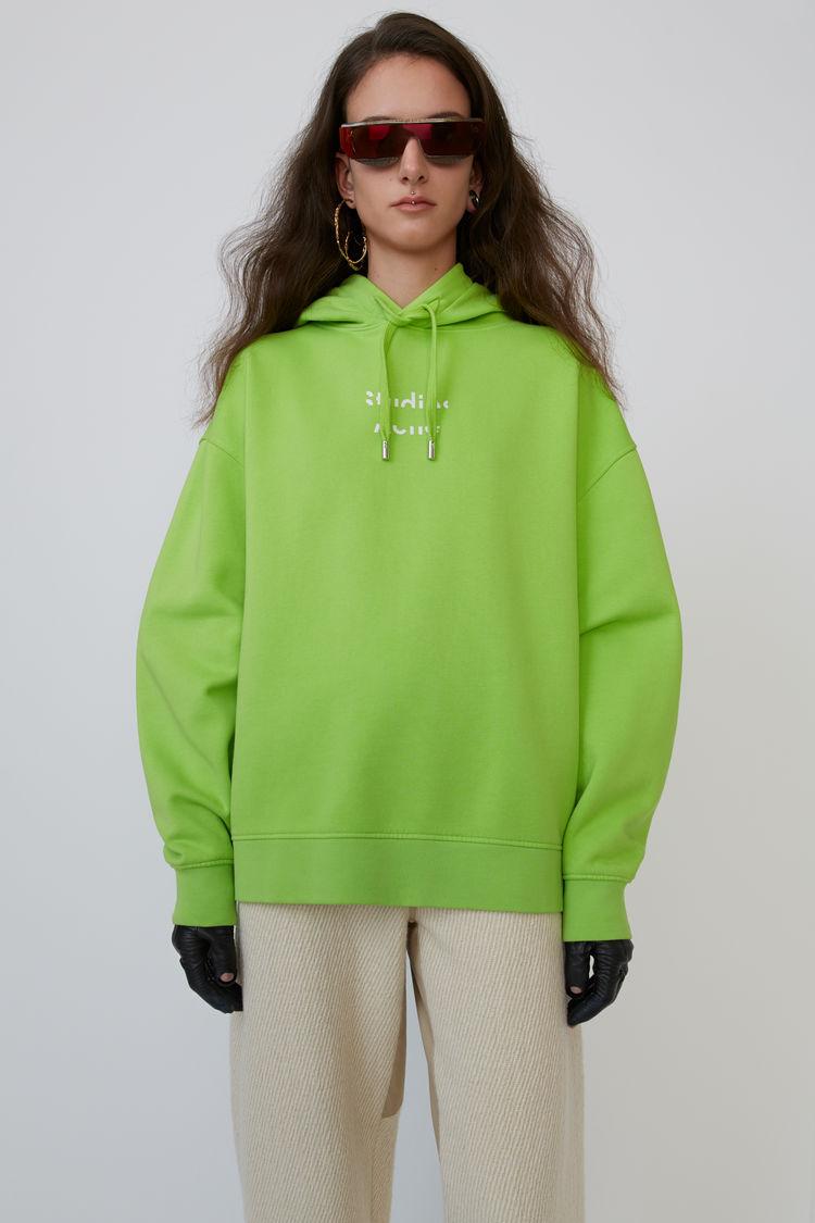 Logo Hooded Sweatshirt Neon Yellow by Acne Studios