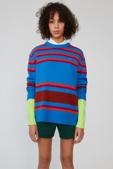 Acne Studios blue multicolor stripe knit sweater with a contrasting face patch.