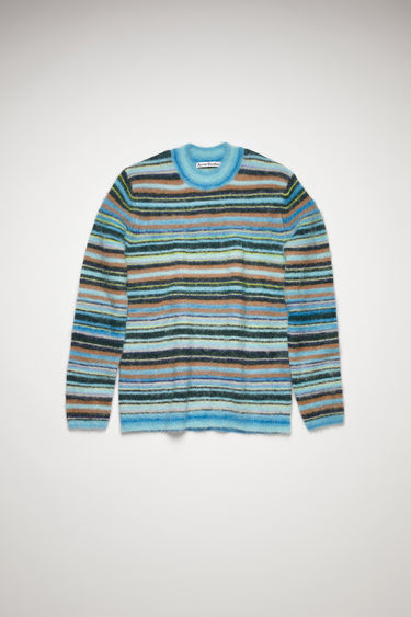 Acne Studios azure blue/light blue sweater is knitted with different shades of alpaca and wool-blend yarns in variegated stripes and finished with ribbed trims along the neckline, cuffs and hem.