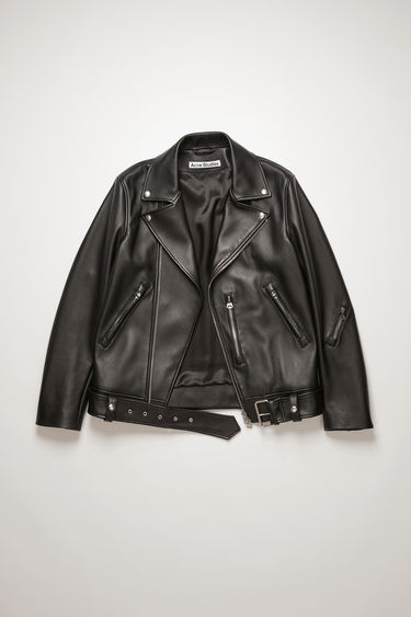 Acne Studios black biker jacket is crafted from soft lamb nappa leather with a buckled belt and features an array of zip pockets.
