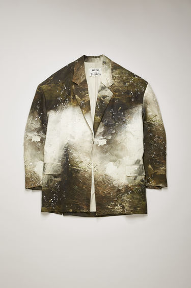 Acne Studios brown/white suit jacket is crafted from crinkled linen and features a painting of Swedish nature by August Strindberg with hand-embellished crystals. It's shaped to an oversized fit with dropped shoulders and a single-breasted buttoned front.