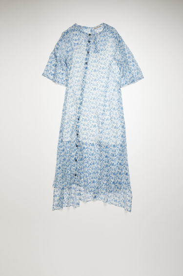 Acne Studios blue/white dress is crafted from crinkled silk chiffon and patterned with a floral print reminiscent of vintage wallpapers. It's cut to an asymmetric silhouette that drapes diagonally across the front, then finished with a button-down closure.