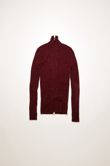 Acne Studios dark red high-neck sweater is knitted from fine-gauge viscose chenille to a ribbed design and features thumbhole openings and a metal zip closure down the back.