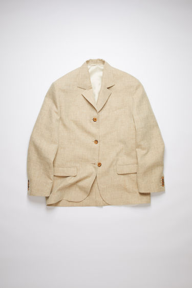 Acne Studios camel melange single-breasted suit jacket is made of a hemp blend with an oversized fit.