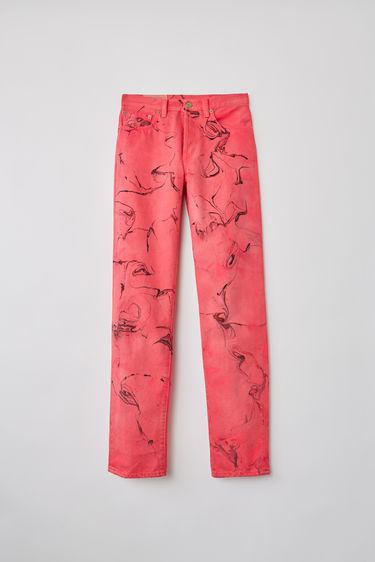 Acne Studios Blå Konst 1997 Swirl Magenta Pink jeans are cut to sit high on the waist with straight legs and finished with a hand marble treatment.