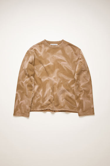 Acne Studios brown sweatshirt is made from organic cotton and features a contrasting tie-dye design and a raised logo across the chest. It's cut for an oversized fit and has dropped shoulders and slightly flared sleeves. The pattern and colour of this item may slightly differ from the images shown.
