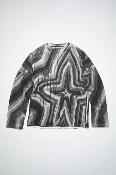 Acne Studios black/white crew neck sweatshirt is made of cotton. In collaboration with Ben Quinn.