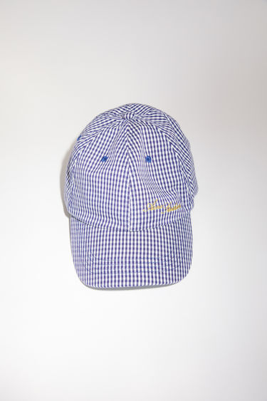 Acne Studios navy/pale green checked baseball cap has a classic six panel design, featuring a logo embroidery on the front.