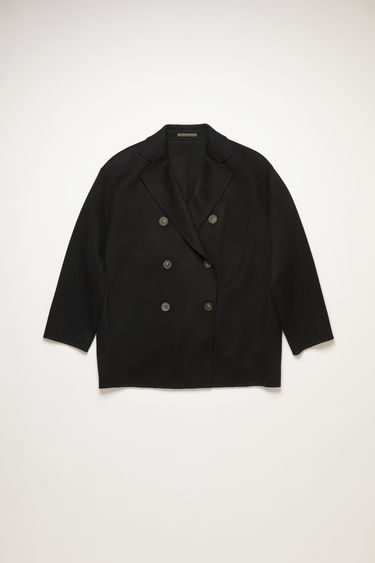 Acne Studios black double breasted a-line jacket.