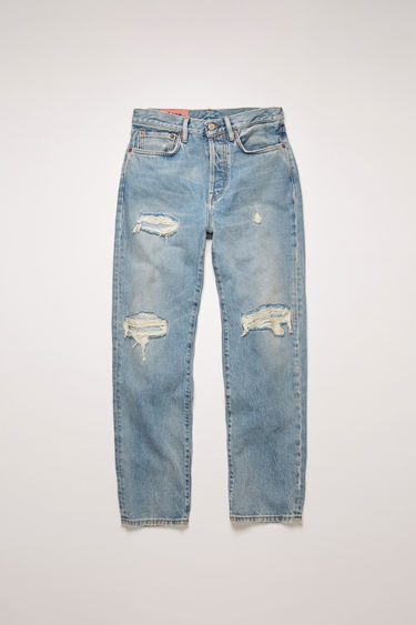 Acne Studios Mece Blue Patched Up jeans are crafted from rigid denim with a distressed torn-effect, then repaired with patchworks. They are cut to sit high on the waist before falling into cropped, straight legs.