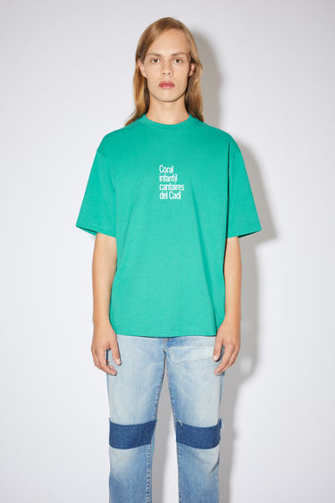 Acne Studios fern green crew neck t-shirt is made of cotton with a printed front and back, in collaboration with Dizonord, a record store in Paris, France.
