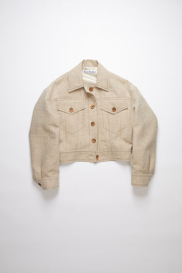 Acne Studios camel melange casual jacket is made of a hemp blend with a cropped fit.