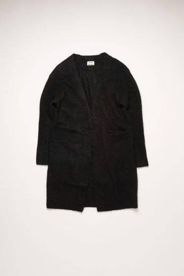 Acne Studios Raya Mohair black cardigan is shaped to a loose silhouette and feature rib-knit pattern on the sleeves and hem.