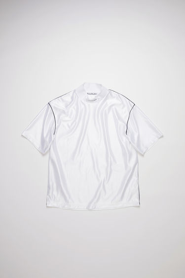 Acne Studios optic white mock neck t-shirt is made of polyester with a logo at the center neck.