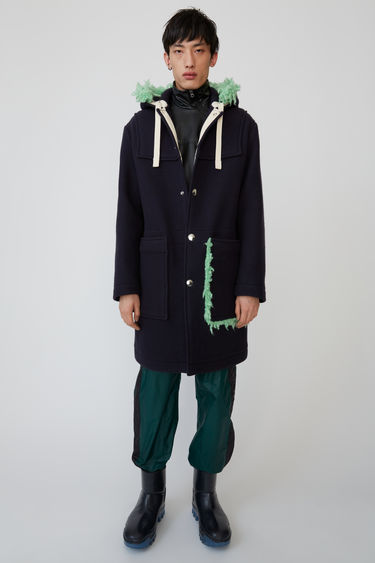 Acne Studios dark navy duffle coat crafted from brushed wool and finished with a drawstring hood and patch pockets.