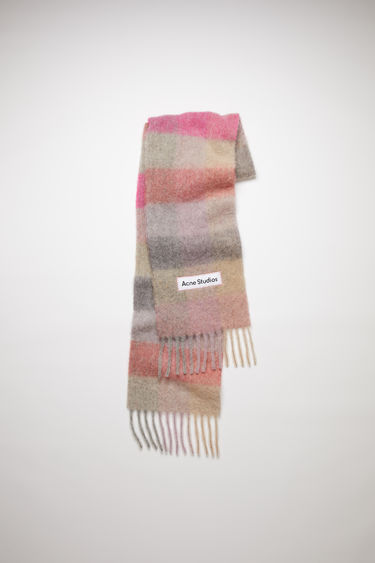Acne Studios fuchsia/lilac/pink large scale check scarf is made of an alpaca blend with fringed ends.