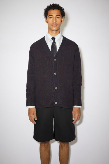 Acne Studios navy/brown melange cardigan is knitted from soft wool and cashmere-blend yarn and has a V neckline and drop-shoulder sleeves to frame the relaxed shape.