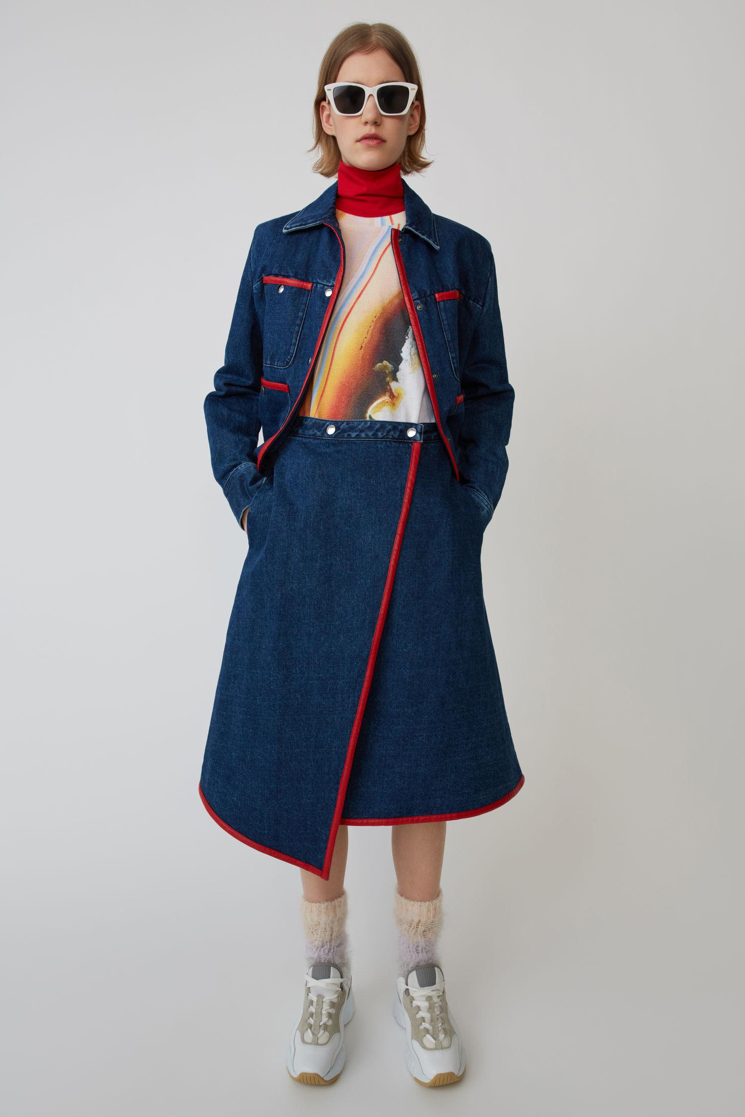 ACNE STUDIOS A-line wrap skirt dark blue