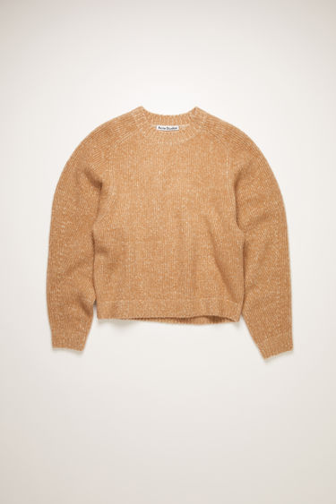 Acne Studios camel/beige melange sweater is spun from a blend of cashmere and wool to a relaxed shape with softly rounded shoulders, and finished with ribbed edges at the crew neck, cuffs, and hem.