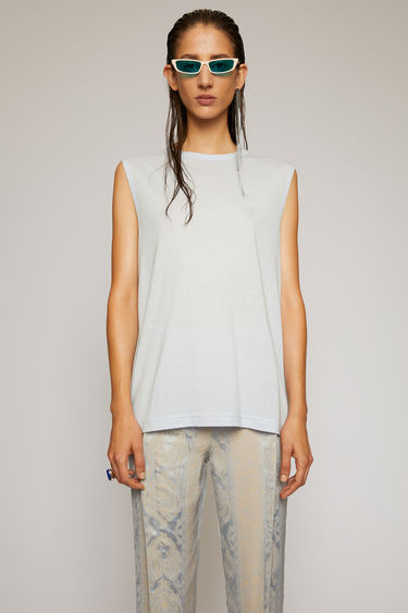 Acne Studios ice blue sleeveless top is cut from a lightweight jersey with a round neck and has a small logo-jacquard tab sewn on the side seam.