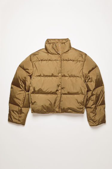 Acne Studios antique brown down jacket is cut to a cocoon shape from lightweight nylon and filled with insulating down for warmth.