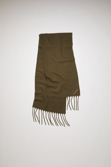 Acne Studios khaki green scarf is crafted from soft boiled wool-blend and detailed with an embroidered Acne Studios logo.
