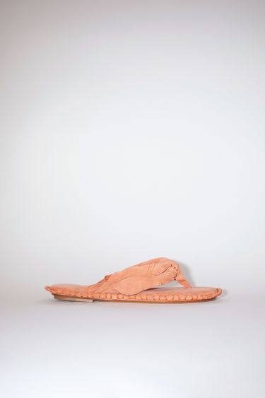 Acne Studios orange sandals are made of calf suede leather. The size runs larger, please take a size smaller than usual.