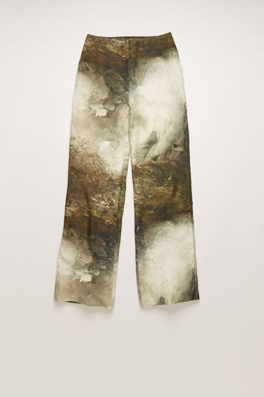 Acne Studios brown/white trousers are crafted from creased linen and features a painting of Swedish landscape by August Strindberg. They are shaped to a high-rise silhouette with relaxed, flared legs.