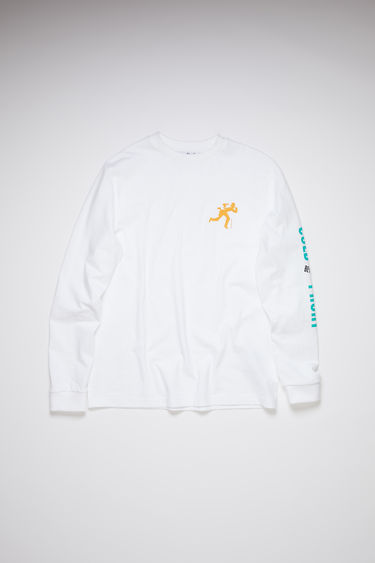 Acne Studios optic white long sleeve t-shirt is made of cotton with a print at the chest and down one arm, in collaboration with Dizonord, a record store in Paris, France.