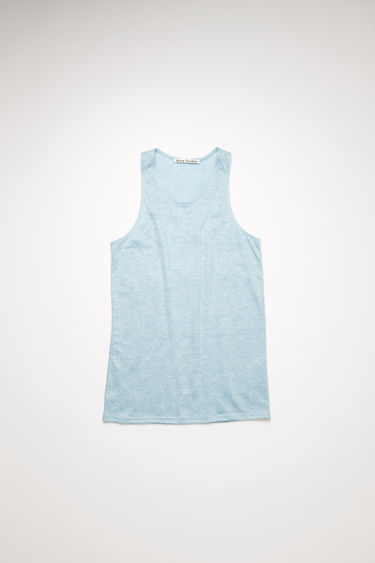 Acne Studios powder blue sleeveless top is made from lighweight slubbed linen and framed with a scooped neckline with ribbed edges.