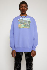 Acne Studios dusty purple sweatshirt is crafted to an oversized silhouette from organically grown cotton and features a dinosaur print and a patch adorned on front.