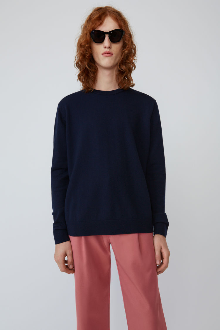 Relaxed Crewneck Sweater Navy Blue by Acne Studios