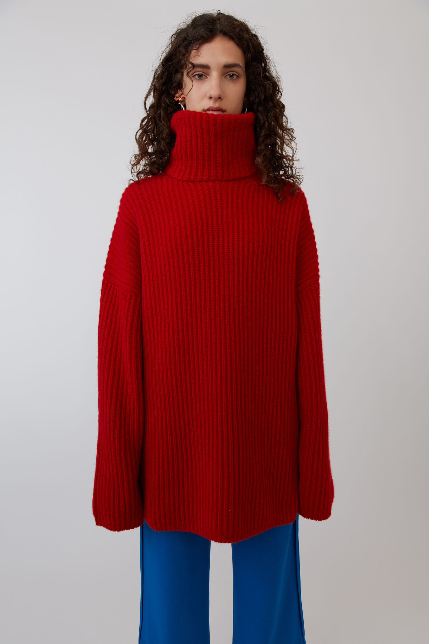 ACNE STUDIOS Ribbed turtleneck sweater red
