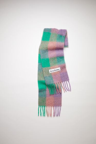 Acne Studios lilac purple/green/pink large scale check scarf is made of an alpaca blend with fringed ends.