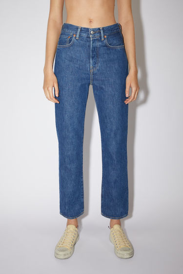 Acne Studios dark blue jeans are made from rigid denim with a high rise and a straight leg.