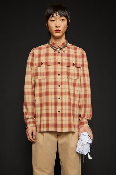 Acne Studios beige/red shirt is cut to a relaxed silhouette from checked cotton-flannel and has a pair of patch pockets at the chest.