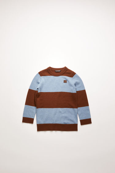 Acne Studios dark brown/mineral blue block-stripe sweater is knitted from soft wool with a ribbed crew neck and accented with a tonal face-embroidered patch.