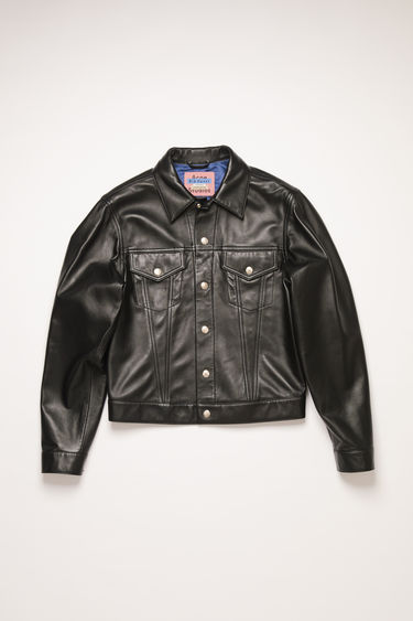Acne Studios Blå Konst black jacket is crafted from lamb leather and accented with silver logo-embossed buttons.