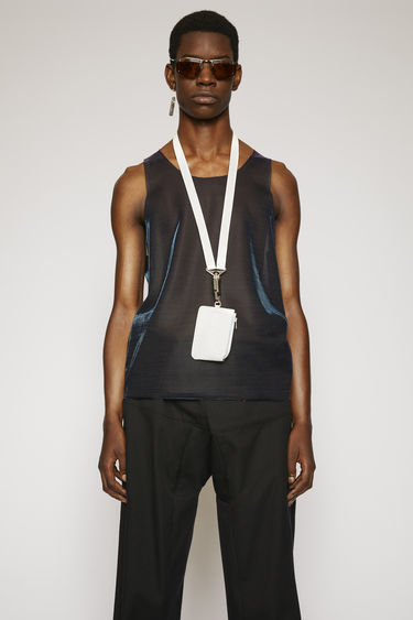 Acne Studios blue/purple sleeveless top is crafted from a lightweight mesh with a shiny, iridescent finish and finished with raw edges.