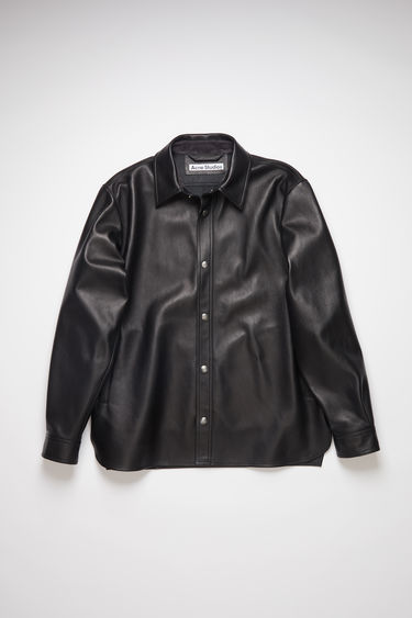 Acne Studios black leather overshirt has a relaxed fit and is partially lined.