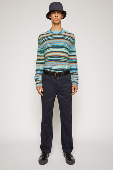 Acne Studios navy modern, straight leg trousers constructed of midweight Italian twill.