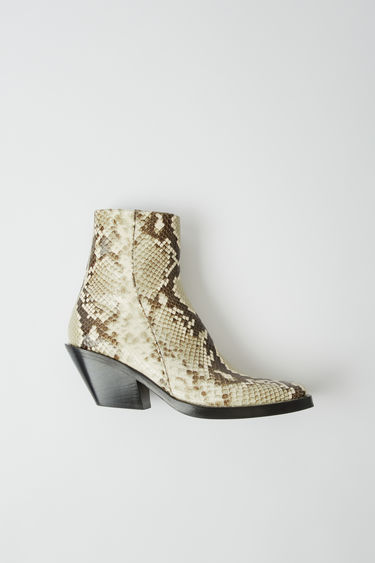 Acne Studios off white ankle boots crafted from snake-effect calf leather with a squared toe and set on a slanted block heel.