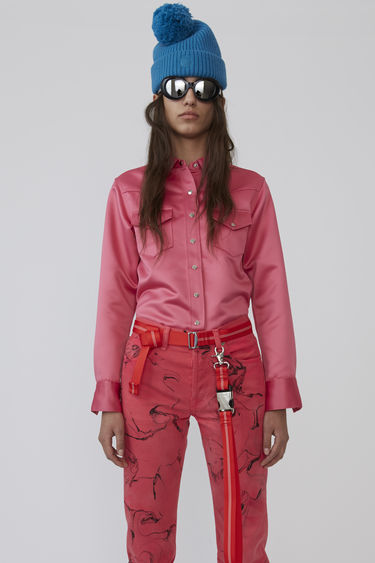 Acne Studios 2002 Satin bright pink shirt is shaped to a slim fit and fastened with silver-tone snap buttons.