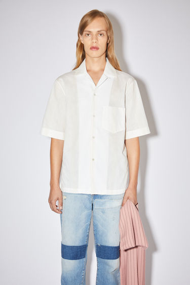 Acne Studios white/vanilla yellow casual short sleeve shirt is made of a striped cotton blend with a classic fit.