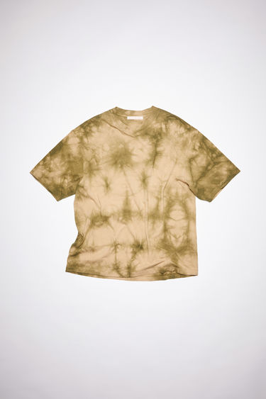 Acne Studios beige/khaki oversized t-shirt made from tie-dyed repurposed organic cotton. Featuring a stack symbol print in the back.