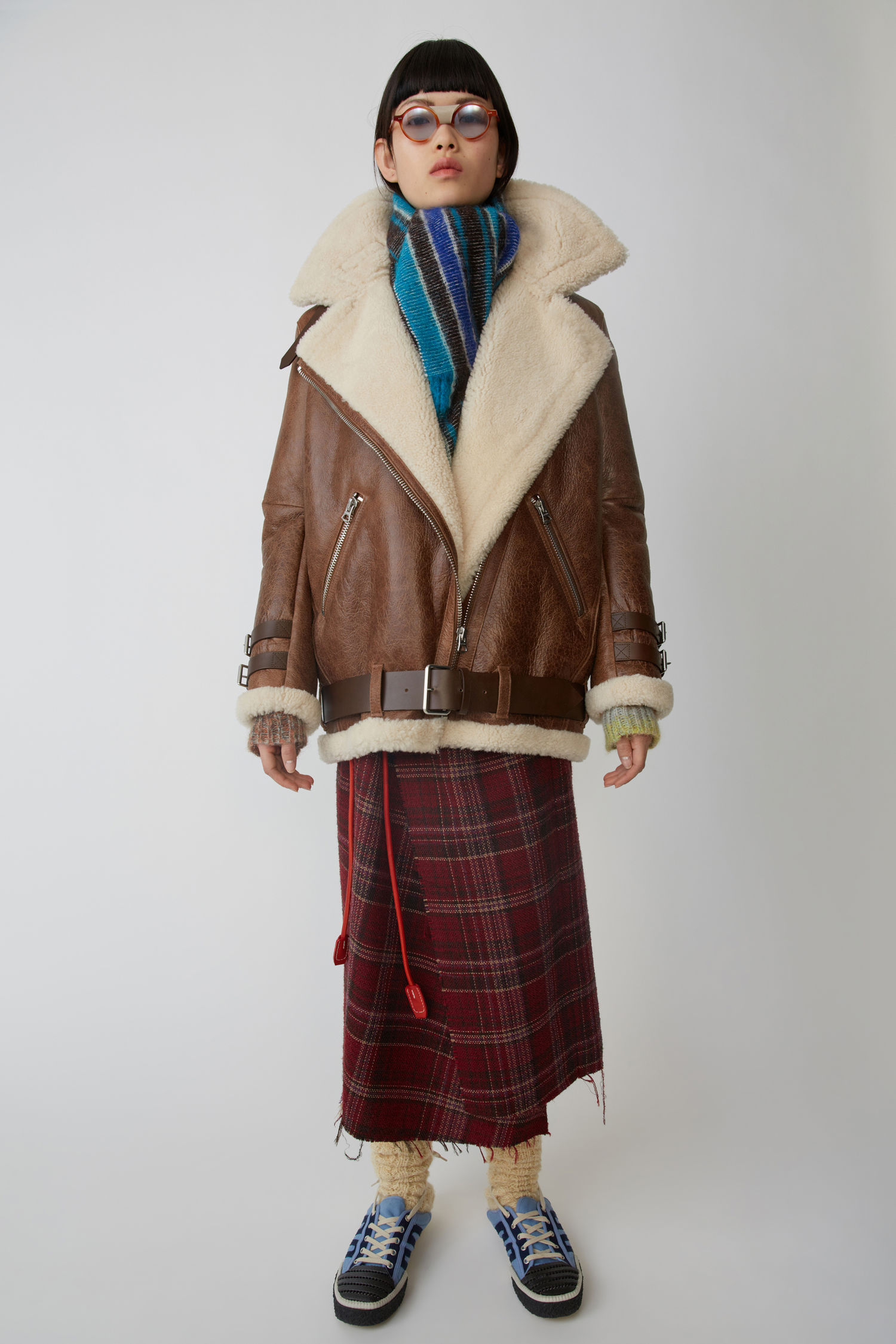 Shearling Jacket Dark Brown/White in Brown White from Acne Studios