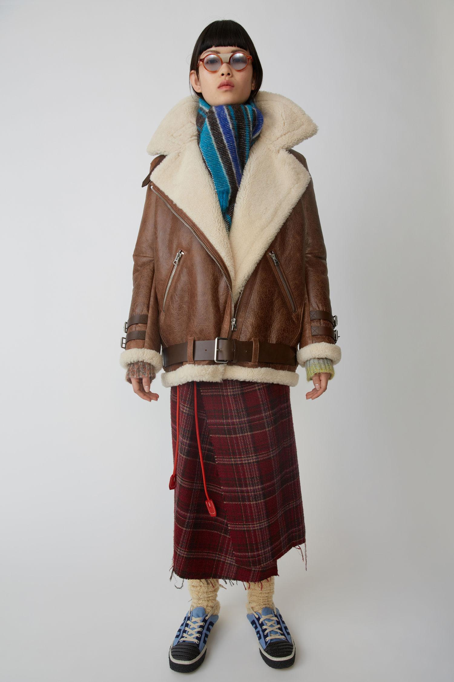 Shearling Jacket Dark Brown/White
